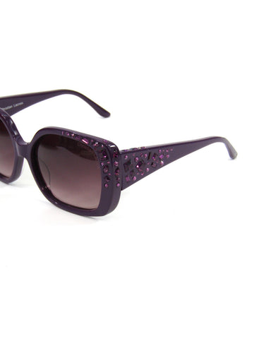 NEW! CHRISTIAN LACROIX Women Purple Crystal Embellishments Sunglasses Accessory