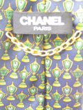 CHANEL  Men Blue Green Gold Trophy Chanel 5 Print Gold Chain Silk Neck Tie