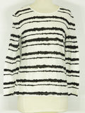 A.L.C. Women Black Off White Stripes Long Sleeve Crew Neck Top Blosue Shirt Size M