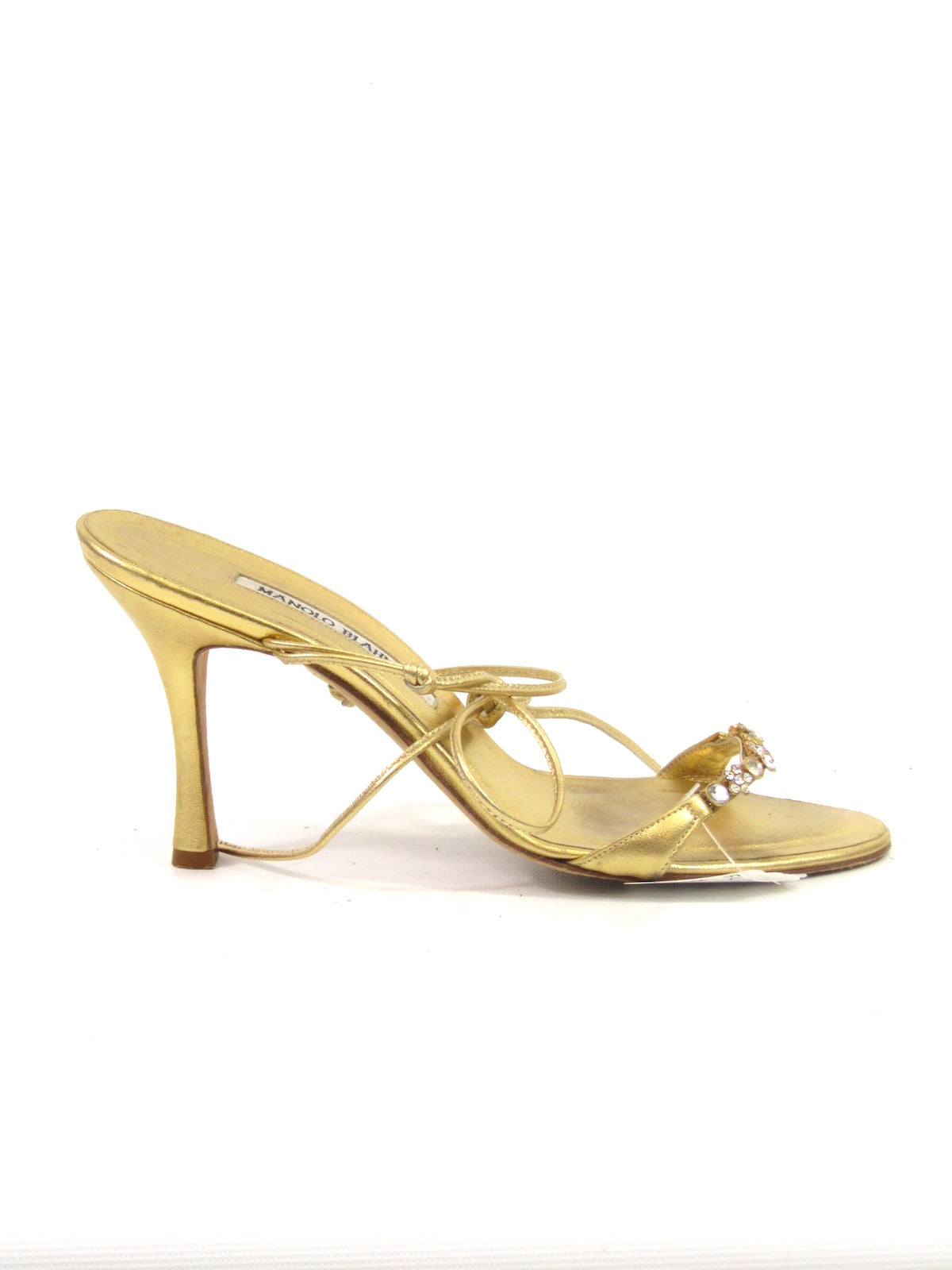 df6b8413c4c7 MANOLO BLAHNIK Women Gold Metallic Leather Crystal Embellishment Strappy  Sandals 38
