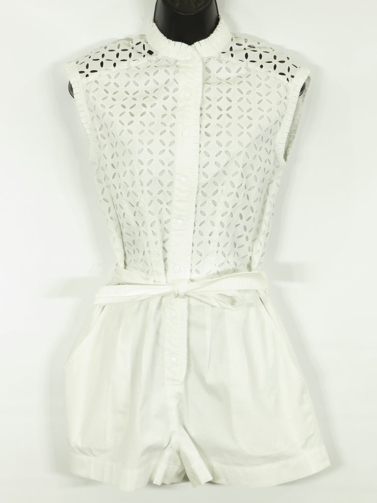 CATHERINE MALANDRINO Women White Belted Sleeveless Eyelet Cutout Romper Size 4