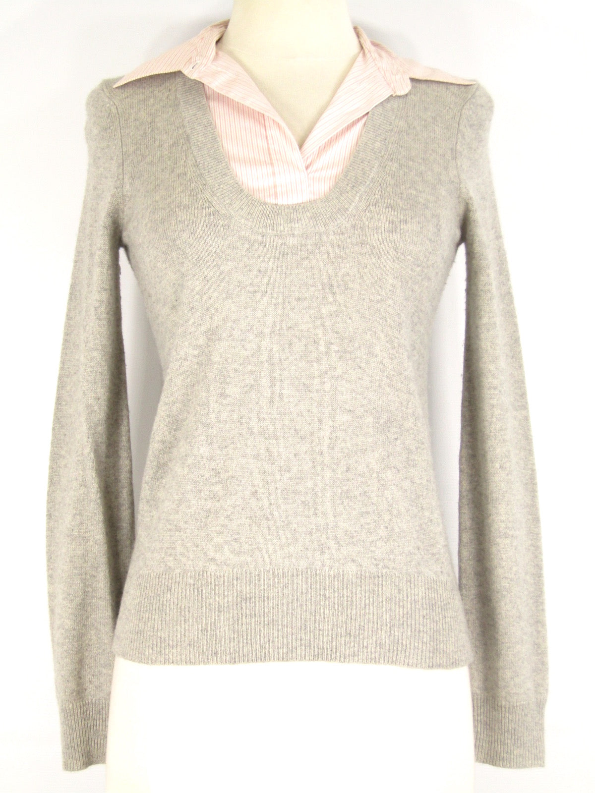 Theory Women Light Gray Cashmere Blend Knit Sweater Pink White Shirt C