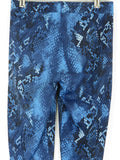 NEW! PEONY Women Blue White Snakeskin Animal Print Leggings Pants Tights Size S