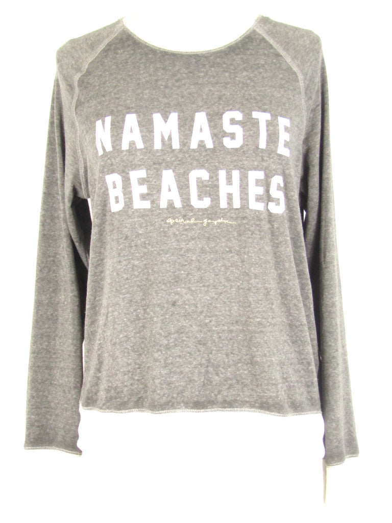 SPIRITUAL GANGSTER Women Gray White Gold 'Namaste Beaches' Sweatshirt M