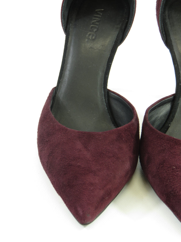 6ba3d23beb4 VINCE Women Bordeaux Red Suede Pointed Toe D'Orsay High Heel Pumps Shoes 9
