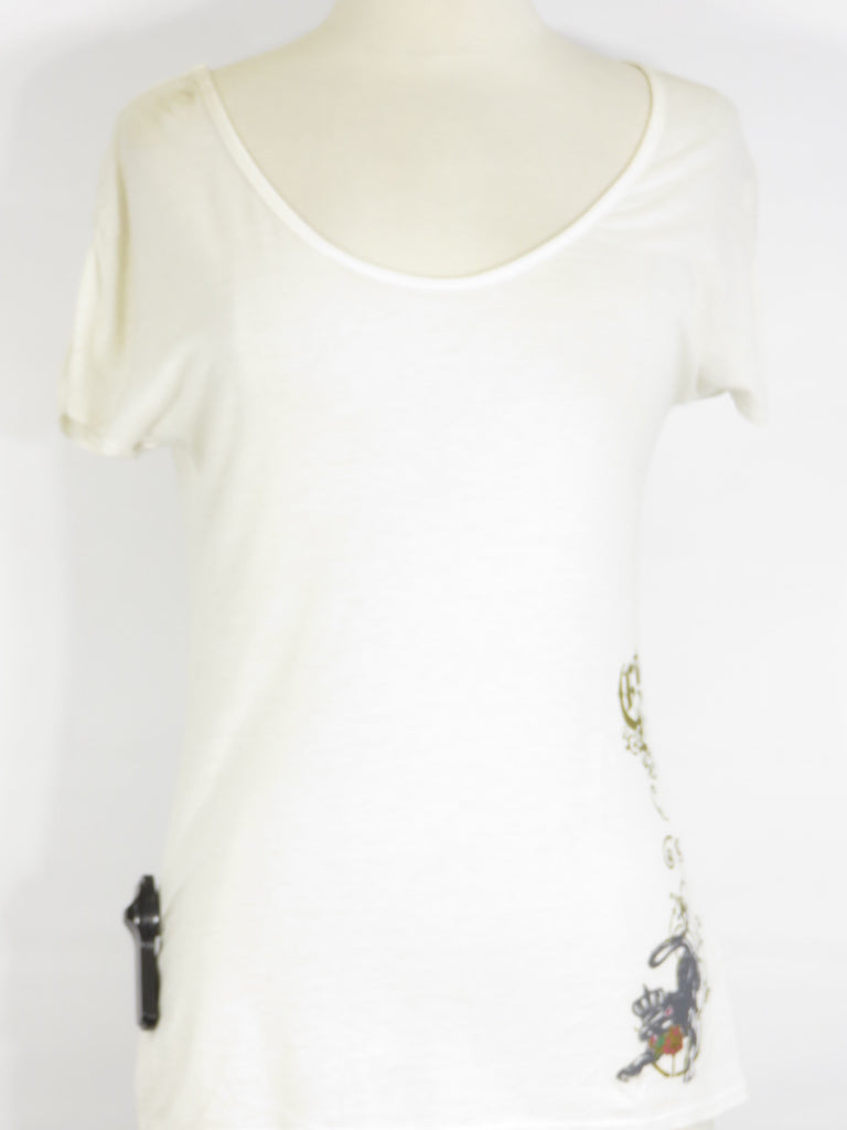 NEW! MIROA Women Off White Classic Graphic T Shirt  Top Size S