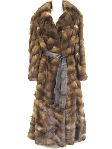 REAL SABLE FUR CUSTOM MADE Women Brown Fur Full Length Coat