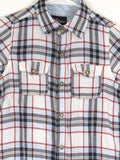 DID TOO! Boys Girls Kids Blue Red White Plaid Checks Button Down Shirt 7