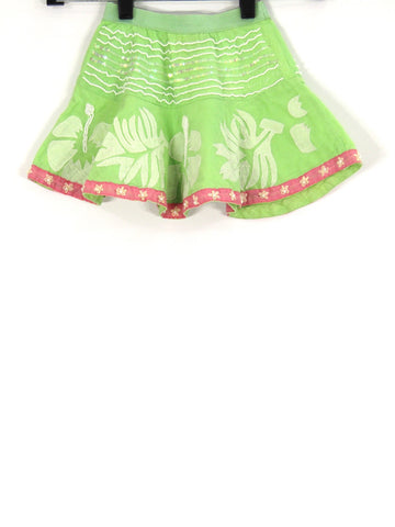 PETITE LETARTE Girls Kids Green Pink White Leaf Print Homemade Mini Skirt XS