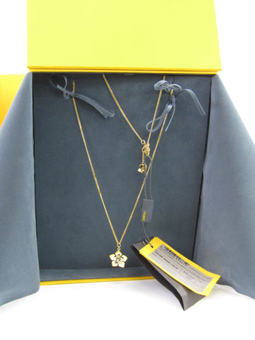 NEW! FENDI Women Gold Silver Flower Necklace Collana Lunga Fior Metallo