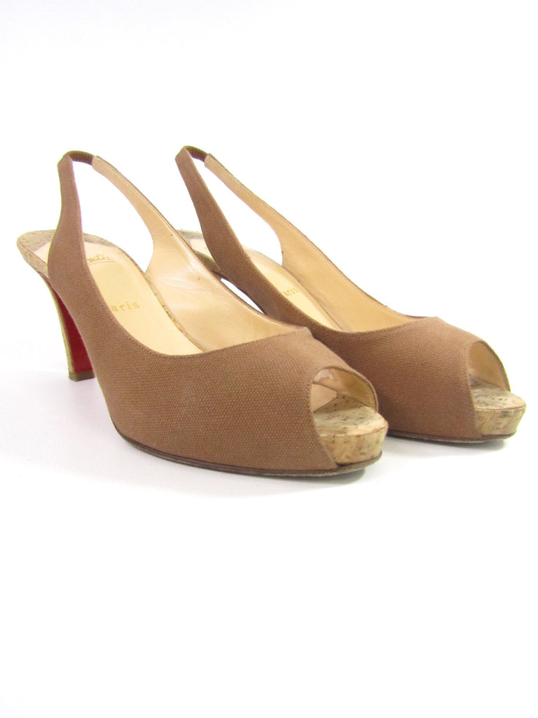 Christian Louboutin and Lorena s Worth · CHRISTIAN LOUBOUTIN Women Beige Peep  Toe Platform Slingback Heels Shoes 39.5 ... 48bafce14