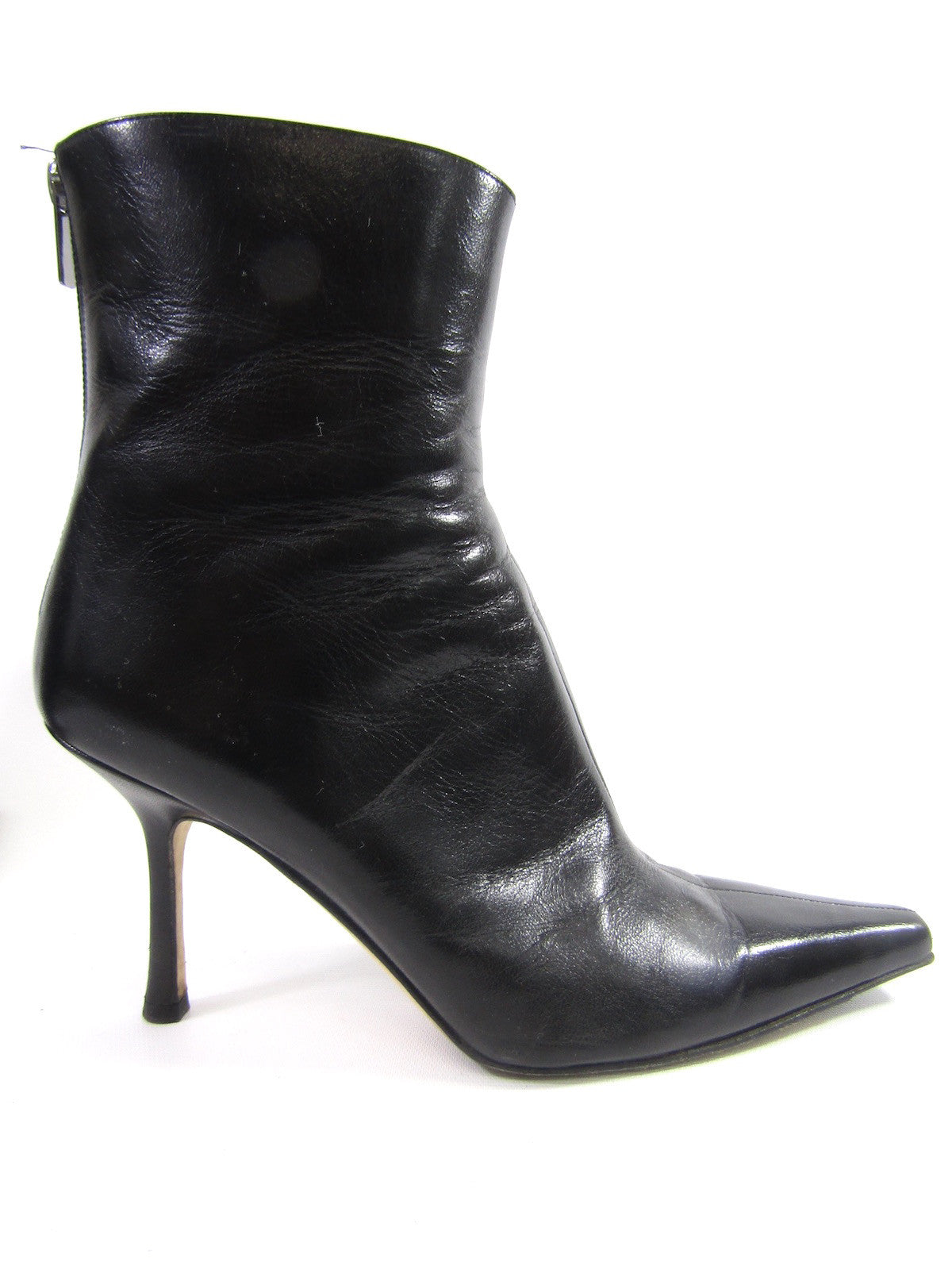 ce8f60b5eb7 ... good jimmy choo women black leather pointy toe ankle booties boots shoes  size 39 3b89f da795