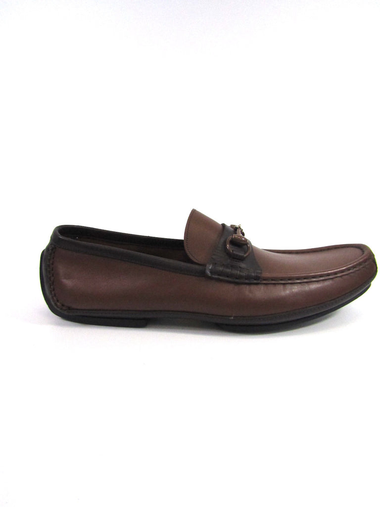 NEW! GUCCI Men Brown Leather Brown Gold Buckle Moccasins Loafers Slip On Shoes 10.5 D