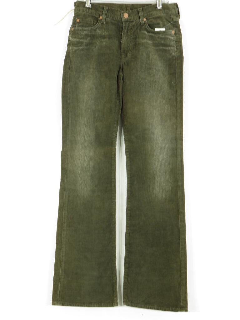 NEW! 7 FOR ALL MANKIND Women Olive Green Dark Corduroy Boot Cut Jeans Size 30