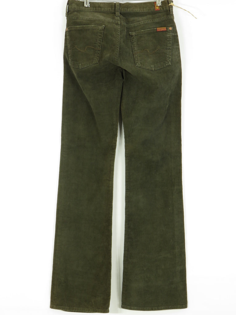 New 7 For All Mankind Women Olive Green Dark Corduroy