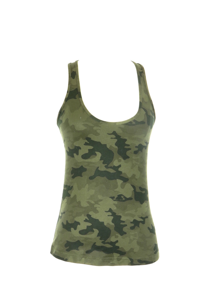 LULULEMON ATHLETICA Women Green Camo Camouflage Sleeveless Racer Back Tank Top Shirt