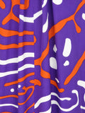 ISSA LONDON Women Purple Orange White Print Maxi Short Sleeve Dress Size 4