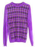 NEW! Versace Men Plaid Purple Black Yellow Crew Neck Sweater Size XL
