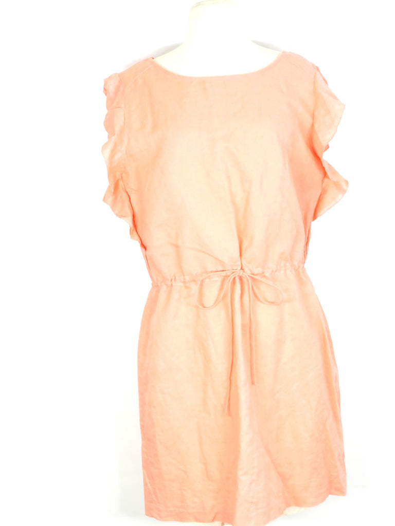 NEW! J. CREW Women Peack Sleeveless Ruffles Belt Linen Summer Sun Dress M