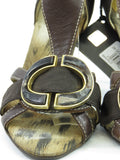 NEW! CAVALLI Women Brown Gold Buckle Cavalli Logo Sandals Open Toe Shoes Heels 36