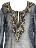 KAREENA'S Women Sheer Black Green Print Gold Jewels Crystals Tunic Beach Cover Up M