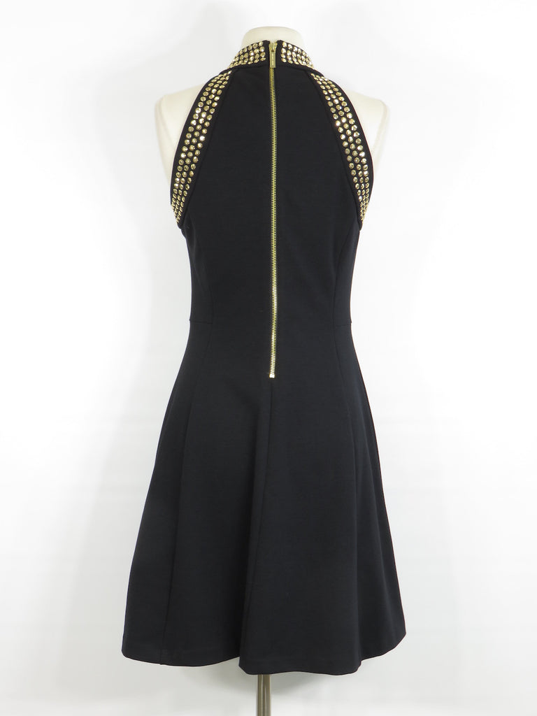 studs dress line products a embellished sleeveless new neck gold stud kors halter michael women dres high black