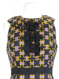 MILLY NEW YORK Women Black Gold Lavender Pattern Sleeveless Bow Collar Dress 4