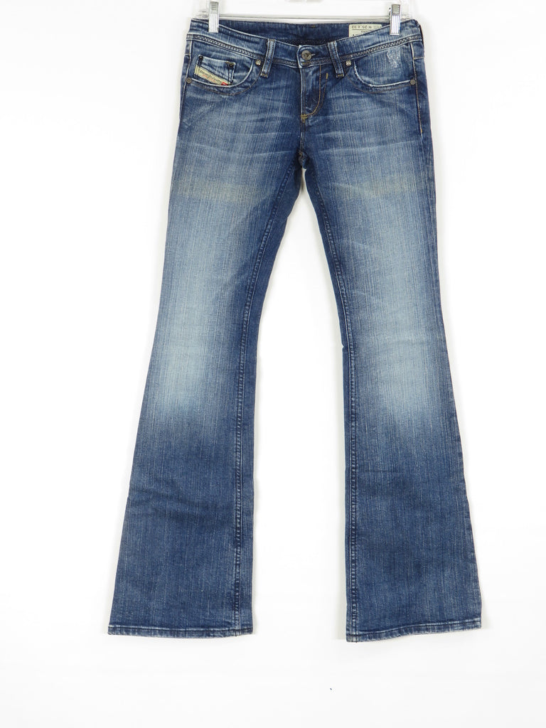 New Diesel Women Blue Lowky Bc Stretch Flare Leg Ragged