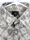 NEW! CAVALLI Men Off White Grey Beige Long Sleeve Button Down Collar Shirt XXL