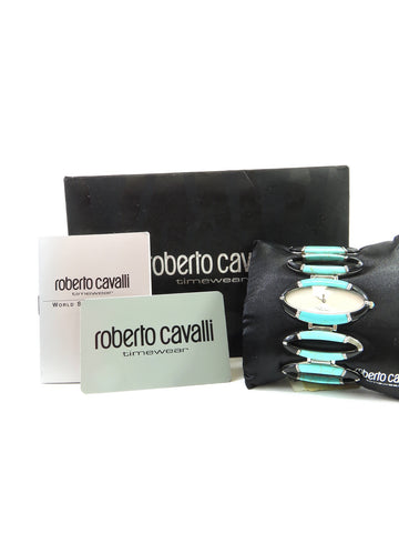 NEW! CAVALLI Women Stones Turquoise Black Agate Analog Watch Fashion