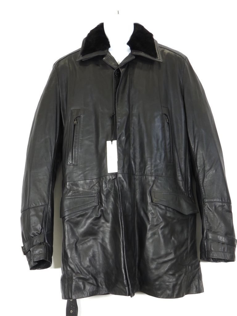 NEW! VERSACE COLLECTION Men Black Leather Faux Fur Removable Lining Coat Jacket 56
