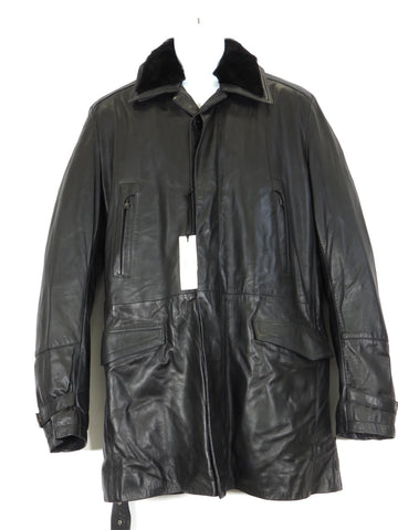 NEW! VERSACE COLLECTION Men Black Leather Faux Fur Removable Lining Coat Jacket 52