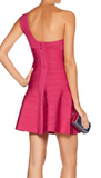 NEW! HERVE LEGER SYDNEY One Shoulder Bandage Dress Fuchsia Hot Pink S Rets $1350