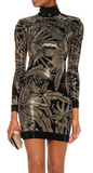 NEW! BALMAIN Women Crystal Embellished Mini Dress Black Gold LBD Sz 40 Ret 3600$