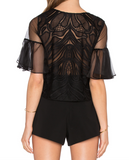 NEW! ALEXIS Women Leonard Organza Lace Short Sleeve Top Black Rets. 297$ Size S