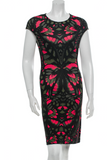 MCQ ALEXANDER MCQUEEN Dress Black Red Green Print Round Neckline Knee Length L