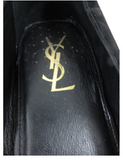 YSL Yves Saint Laurent Men Classic Black Suede Slip On Shoes Gold Monogram Sz 44