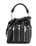 NEW! SAINT LAURENT Emmanuelle Black Bucket Bag Leather Silver Zippers Purse