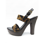YSL YVES SAINT LAURENT Leopard Animal Print Sandals Heels Platform Clogs Shoe 36