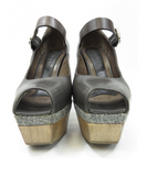 MARNI Women Gray Leather Tweed Fabric & Wood Platform Mary Janes Shoes Pumps