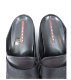 PRADA Men Classic Black Leather Slip On Slides Open Back Loafers Shoes Sz 9.5 EU