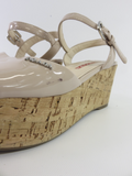 PRADA Women Nude Patent Leather Cork Platform Wedge Sandals Shoes Size 35.5
