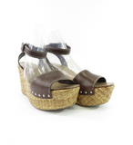 PRADA Women Brown Leather Studs Detail Wicker Platform Wedge Sandals Shoes 40