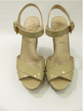 PRADA Women Beige Nude Patent Leather Wedge Platform Sandals Cork Shoes Sz 35.5