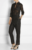 NEW! MSGM Women Black Lace Crepe Trimmed Jumpsuit Long Sleeves Retails $950