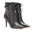 NEW! AQUAZZURA Women Black Tribeca Leather Ankle Boots Booties Ret 895$ Size 40
