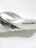 PRADA Women Silver Leather Wedge Platform Sandals Flip Flops Shoes Heels 35.5
