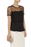 NEW! VALENTINO Women Black Lace Paneled Jersey Top Blouse Shirt