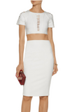 NEW! HERVE LEGER Women Julianne Cropped Cut Out Bandage Top Shirt Blouse
