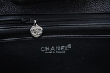 CHANEL Women Black Jumbo Silver Hardware Classic Flap Bag Purse